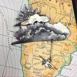 Articulated Plane Clouds & Sunshine Pewter Brooch